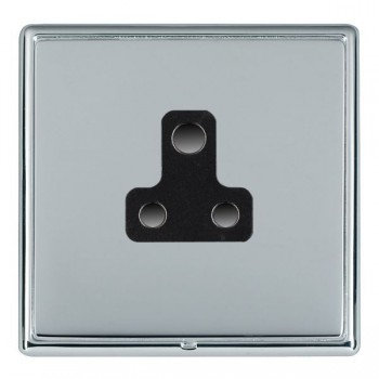 Hamilton Linea-Rondo CFX Bright Chrome/Bright Steel 1 Gang 5A Unswitched Socket with Black Insert