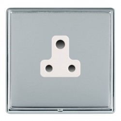 Hamilton Linea-Rondo CFX Bright Chrome/Bright Steel 1 Gang 5A Unswitched Socket with White Insert