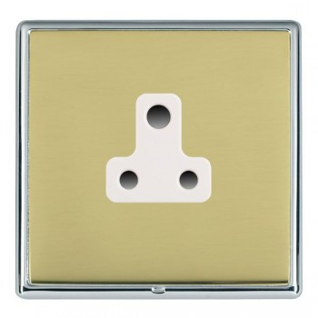 Hamilton Linea-Rondo CFX Bright Chrome/Polished Brass 1 Gang 5A Unswitched Socket with White Insert