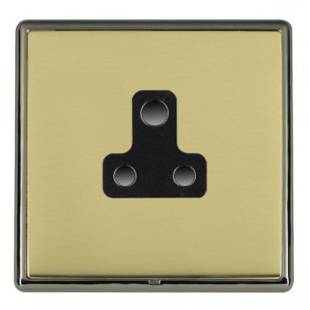 Hamilton Linea-Rondo CFX Black Nickel/Polished Brass 1 Gang 5A Unswitched Socket with Black Insert