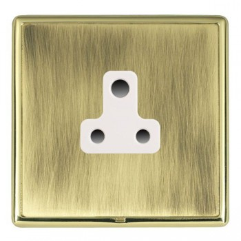 Hamilton Linea-Rondo CFX Polished Brass/Antique Brass 1 Gang 5A Unswitched Socket with White Insert
