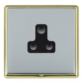 Hamilton Linea-Rondo CFX Polished Brass/Bright Steel 1 Gang 5A Unswitched Socket with Black Insert
