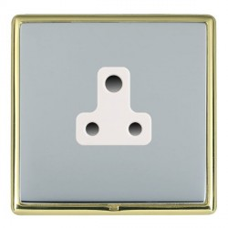 Hamilton Linea-Rondo CFX Polished Brass/Bright Steel 1 Gang 5A Unswitched Socket with White Insert