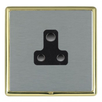 Hamilton Linea-Rondo CFX Polished Brass/Satin Steel 1 Gang 5A Unswitched Socket with Black Insert