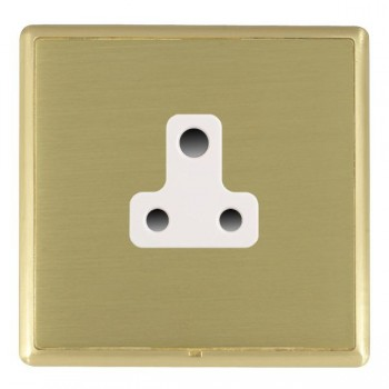 Hamilton Linea-Rondo CFX Satin Brass/Satin Brass 1 Gang 5A Unswitched Socket with White Insert
