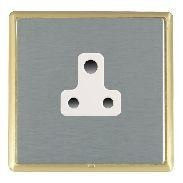 Hamilton Linea-Rondo CFX Satin Brass/Satin Steel 1 Gang 5A Unswitched Socket with White Insert