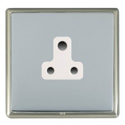 Hamilton Linea-Rondo CFX Satin Nickel/Bright Steel 1 Gang 5A Unswitched Socket with White Insert