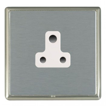 Hamilton Linea-Rondo CFX Satin Nickel/Satin Steel 1 Gang 5A Unswitched Socket with White Insert