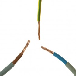 1 Meter Cut of 10.00mm Double Insulated Brown and Blue Meter Tails and 10.00mm G/Y Earth Cable Kit