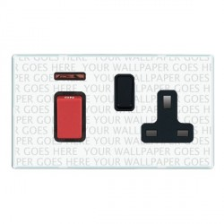 Hamilton Perception Clear 1 Gang Double Pole 45A Red Rocker + 13A Switched Socket with Black Insert